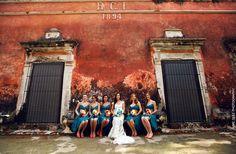 Pretty bride & colorful bridesmaid photo shooting Mexican Hacienda Wedding Inspiration from www.jaimeglez.com