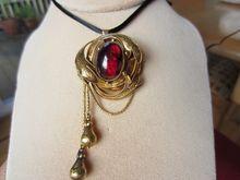 Shop Special! Antique Victorian Natural Garnet Cab Locket Necklace / Brooch 15K Gold With Keepsake Compartment