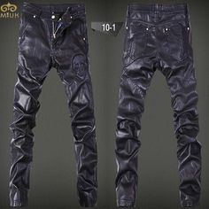 Men Leather Pants Hip Hop Cargo