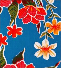 Hawaii blue oilcloth fabric from www.oilclothbytheyard.com