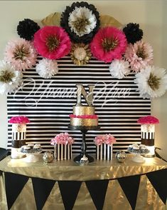 Kate Spade inspired black white pink and gold. Paper flowers decor birthday party decor by DeeDeeBean Kate Spade Party, Kate Spade Cake, 30th Birthday Parties, Mom Birthday, Cake Birthday, 21st Party, 60th Birthday Ideas For Mom Party, Birthday Balloons, Pink Und Gold