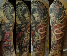 Geisha sleeve progress by strangeris on DeviantArt