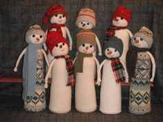 Adorable snowmen made from sweater sleeves, sweater cuff hats, bits & pieces of fabric leftovers. The inside is a sand-filled coffee creamer bottle. Christmas Time Is Here, All Things Christmas, Christmas Holidays, Christmas Decorations, Xmas, Christmas Projects, Holiday Crafts, Holiday Fun, Holiday Ideas
