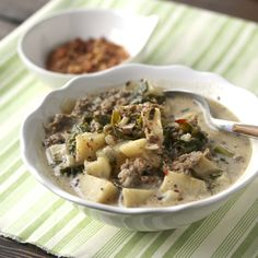 Hearty Copy-Cat Zuppa Toscana.  Low-carb, gluten-free, and dairy-free.