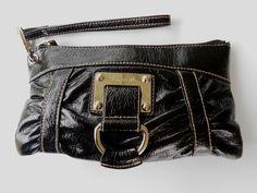 Black Gathered Vinyl Wristlet Clutch Black Cotton Interior Zipper Top LineaR LR #LineaRLR #ClutchWristlet
