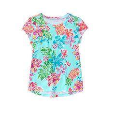 Girls Aqua Floral Tropical Tee by Gymboree
