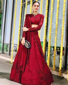 The Neeti Mohan Wedding is all about Squad Goals for Indian Bridesmaids - Witty Vows Indian Bridal Outfits, Indian Bridal Fashion, Indian Designer Outfits, Bridal Dresses, Lace Dresses, Indian Lehenga, Indian Gowns, Indian Attire, Red Lehenga