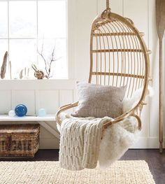 So remember the other day on my stories when I was asking for your thoughts on what I should do in that little nook in my guest bedroom?  Well friends, I think I've got it. Thank you to one brilliant followers for giving me an idea I hadn't thought of yet!  This @serenaandlily hanging rattan chair is going to be in my guest room some day. Just not sure when! 💸💸 where's that money tree at? 😂 But seriously, I'm obsessed. My husband who'd have to install it, and who's thinking more…