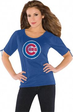 Chicago Cubs Women's Slit Shoulder Top from Touch by Alyssa Milano