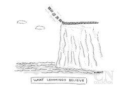What Lemmings Believe - New Yorker Cartoon Premium Giclee Print