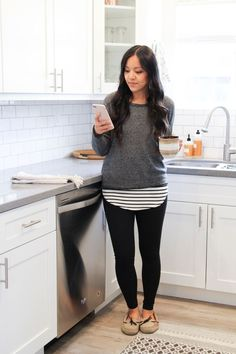Grey Sweater + Striped Tee + Leggings + Slippers