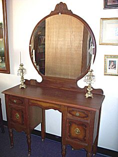 American Hundred Year Old Vanity Dresser Round Mirror