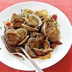 Spanish-Style Clams with Red Peppers and Sherry | MyRecipes.com #MyPlate #protein