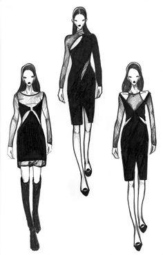 Fashion illustration - fashion sketches; fashion design drawings // Vikki Yau