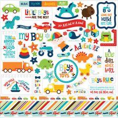 Echo Park Little Man Cardstock Stickers - Element