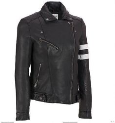 3bec986783a6 Leather Motorcycle Jacket w Striped Sleeve - Outerwear - Clearance -  Wilsons Leather Leather Jackets
