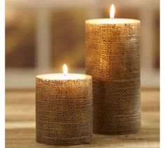DIY Projects with Burlap and Creative Burlap Crafts for Home Decor, Gifts and More   Pottery Barn Burlap Candle    http://diyjoy.com/diy-projects-with-burlap