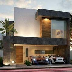Casa com fachada em revestimento branco, madeira e pedra.