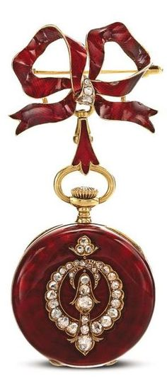Meylan Yellow Gold, Enamel and Diamond-set Open-faced Keyless Lever Fob Watch, Circa 1895 Antique Watches, Antique Clocks, Vintage Watches, Antique Jewelry, Vintage Jewelry, Do It Yourself Jewelry, Pocket Watch Antique, Burgundy And Gold, Beautiful Watches