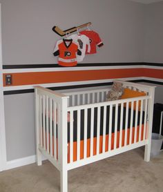 Baby nursery decor, but with a baseball bat!