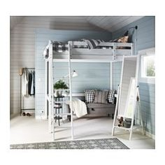 IKEA - STORÅ, Loft bed frame, , You can use the space under the bed for storage, a workspace or seating.The ladder mounts on the right or the left side of the bed.Made of solid wood, which is a hardwearing and warm natural material.