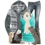 Winter Outfits   Gray and Aqua