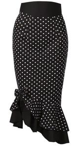 Last Chance! Asymmetric Black Polka Dot PinUp Skirt #pencilpinup #polkadotskirt #wiggleskirt #rockabillyskirt