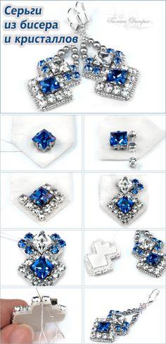 "Мастер-класс: вышивка бисером и кристаллами, серьги ""Небеса"" / Beaded Earrings Tutorial #diy #jewelry #bead"
