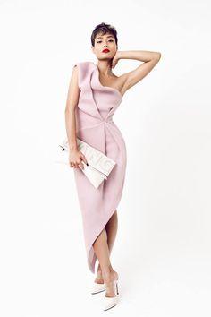 Bei Na Wei Pink Asymmetric Drape Sculptural Maxi Cocktail Dress