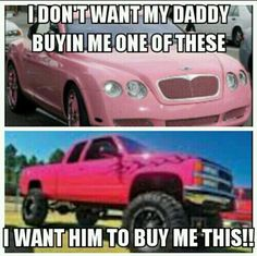 just not pink i'lll take a truck just i can't be no yuppie girl with a pink truck... With a truck like that i wud rather drive the car!!!