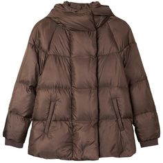 Gerard Darel Bluenn Puffer Jacket (11.765 RUB) ❤ liked on Polyvore featuring outerwear, jackets, gold, short hooded jacket, gerard darel jacket, brown jacket, puffy jacket and long sleeve jacket