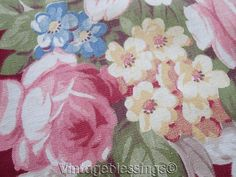 """Cabbage Roses & Scrolls VINTAGE 40s Chair Cover Fabric 17 1/4"""" x 16"""""""
