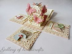 Gallery of handicrafts, Exploding box with birdcage and butterflies