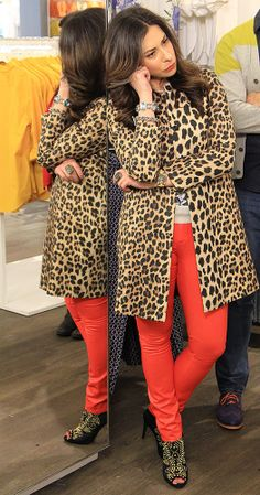 Leopard Print Coat by Zara, Floral Shirt by J. Crew, Red Jeans by Helmut Lang #WNTW