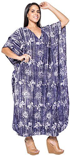 ecae30768020 Women Beachwear Long Casual Dress Caftan Dress Batik N Blue SUN 7 US 14 30W  Valentines