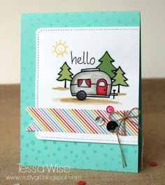 Lawn Fawn - Happy Trails, Starry Backdrops, So Much to Say, Large Stitched Journaling Card, Hello Sunshine 6x6 paper, Let's Polka Mixed Sequins _ super cute Hello Camper Card by Tessa via Flickr - Photo Sharing!