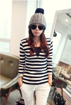 Korean Fashion V-Neck Long Sleeve Striped T-Shirt Royal Blue - BuyTrends.com