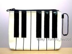 Music Note Piano Keyboard Coin Bag Wallet Card Holder