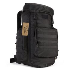 ArcEnCiel Adjustable Capacity Outdoor Sports Bag Military Tactical Large Waterproof Molle Backpack Hiking Camping Trekking Gym Bags -Rain Cover Included (Black) *** Discover this special outdoor gear, click the image : Best hiking backpack Molle Backpack, Backpack Bags, Outdoor Outfit, Outdoor Gear, Best Bug Out Bag, Best Hiking Backpacks, Backpack Reviews, Camping And Hiking, Camping Gear
