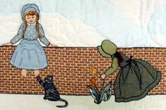 """#9  """"Bonnet Proportional Children & Borders""""  Girl sitting on a fence and girl picking flowers."""
