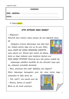 Eta aitona non dago Maila, You Changed, Advertising, Reading Comprehension, Reading Comprehension, Spanish Teaching Resources, Mappa Mundi, Speech Language Therapy
