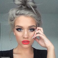 This selfie posted by Jennica Gomez of big lips, white nails and grey hair creates a cool ... Trends, Lip Colors, Hair 2018, Hair And Nails, Lipstick, Grey, Attention, Face, Instagram
