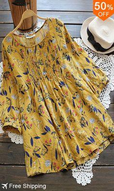 Buy this Gracila Women Floral Print O-neck Three Quarter Sleeve Blouse Moda Chic, Blouse Styles, Women's Dresses, Dresses Online, Online Clothes, Ladies Dresses, Fashion Dresses, Half Sleeves, Short Sleeves