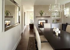 Dining Room contemporary dining room / white simple chandelier, modern mirror, love the dining set