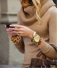 love the chunky caramel sweater and all the accessories