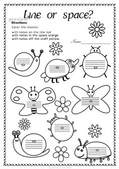 This set of 20 spring themed worksheets is designed to help your students practice identifying whether a pitch is on a line or in a space and practice high/low pitches. All activities require no preparation. Music Lessons For Kids, Music For Kids, Preschool Music, Music Activities, Piano Songs For Beginners, Music Theory Worksheets, Space Music, Music Station, Primary Music