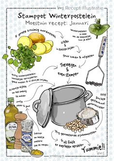 Winterpostelein stamppot: moestuin recept januari Pesto, Recipe Drawing, Vegan Fish, Nutrition Guide, Nutrition Plans, Food Journal, Food Drawing, Potato Dishes, Healthy Dishes