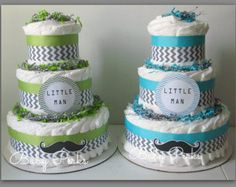 Choose Your Color  Set Of 4  Mustache Mini Diaper cakes by MsPerks