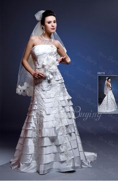 Teried A-line Strapless Layered Chapel Train Wedding Dress