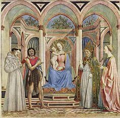 Domenico Veneziano, Pala di Santa Lucia de' Magnoli, 1445, Uffizi. La tripartizione gotica si é trasformata in tripartizione dello spazio, prospettica.